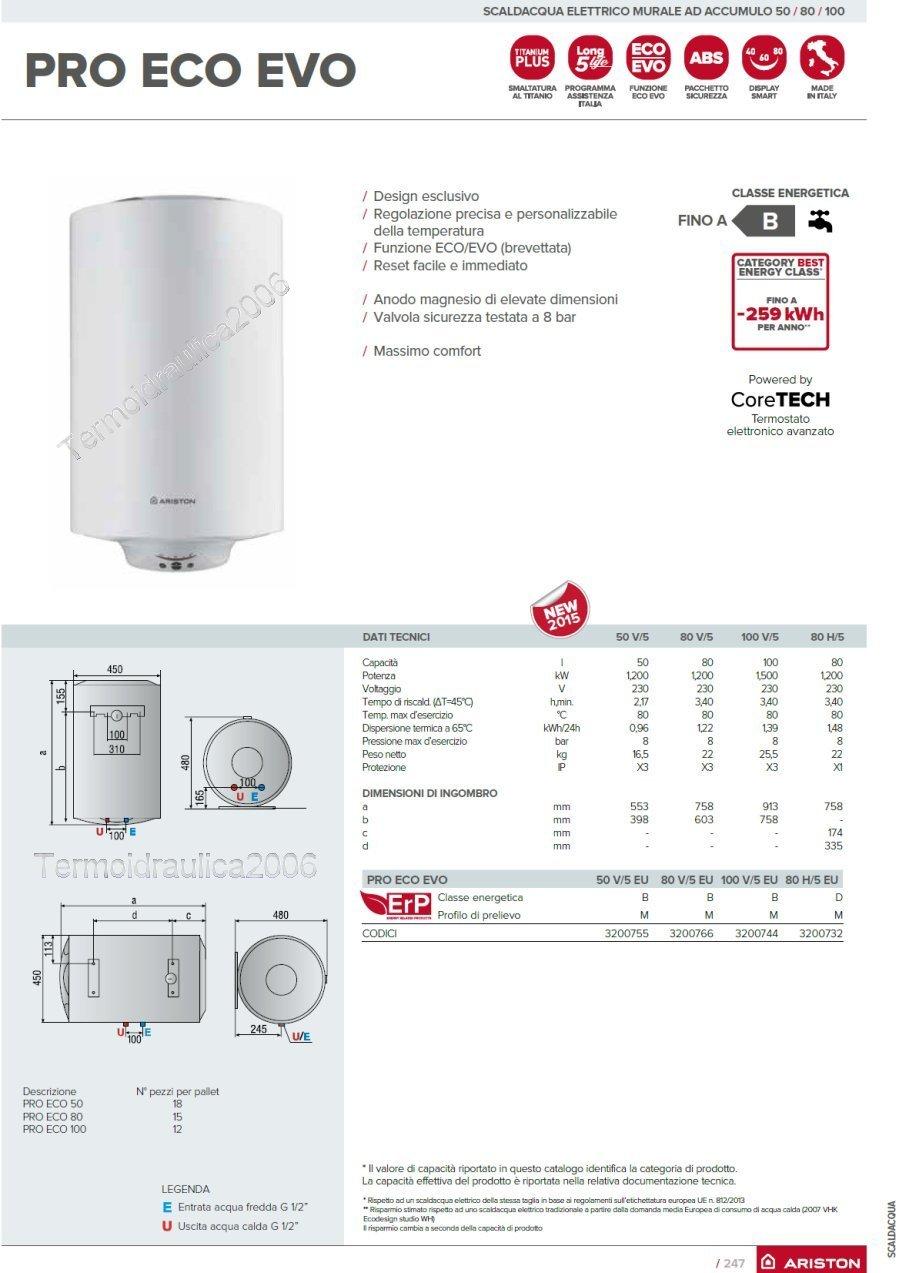 Scaldabagno 50 litri verticale ariston pro eco evo eu ebay - Scaldabagno elettrico ariston 50 litri prezzi ...