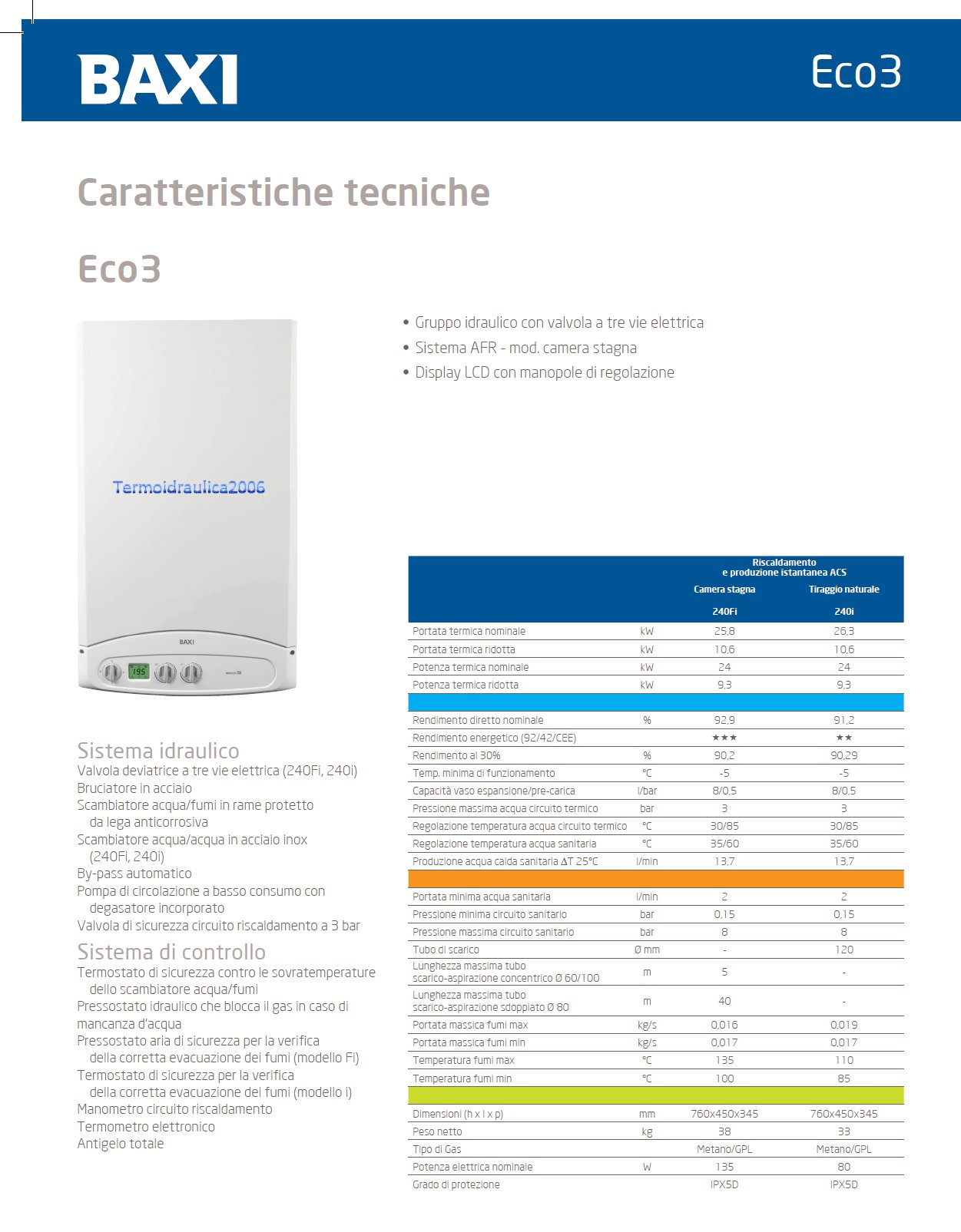 Baxi eco3 csb45624168 classic combi boiler heating 240fi for Baxi eco 3 manuale
