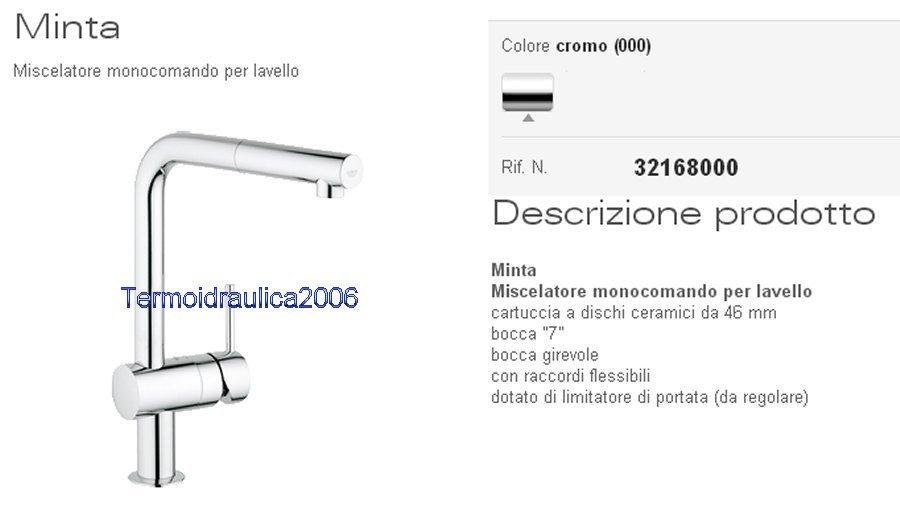 grohe minta 32168000 miscelatore lavello h 293 bocca 7 girevole cr ebay. Black Bedroom Furniture Sets. Home Design Ideas