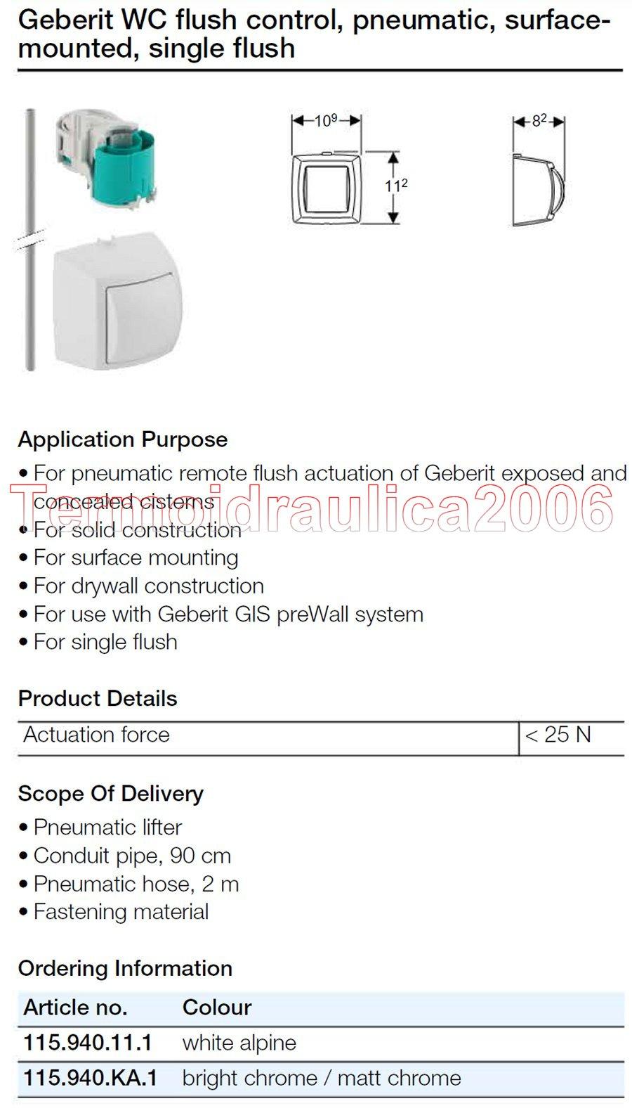 geberit wc control pneumatic surface single flush bright chr matt ebay. Black Bedroom Furniture Sets. Home Design Ideas