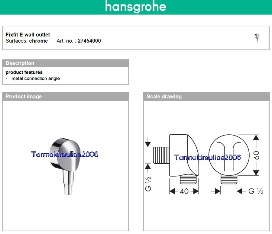 hansgrohe fix fit e 27454000 wall metal connection angle 1 2 chrome ebay. Black Bedroom Furniture Sets. Home Design Ideas