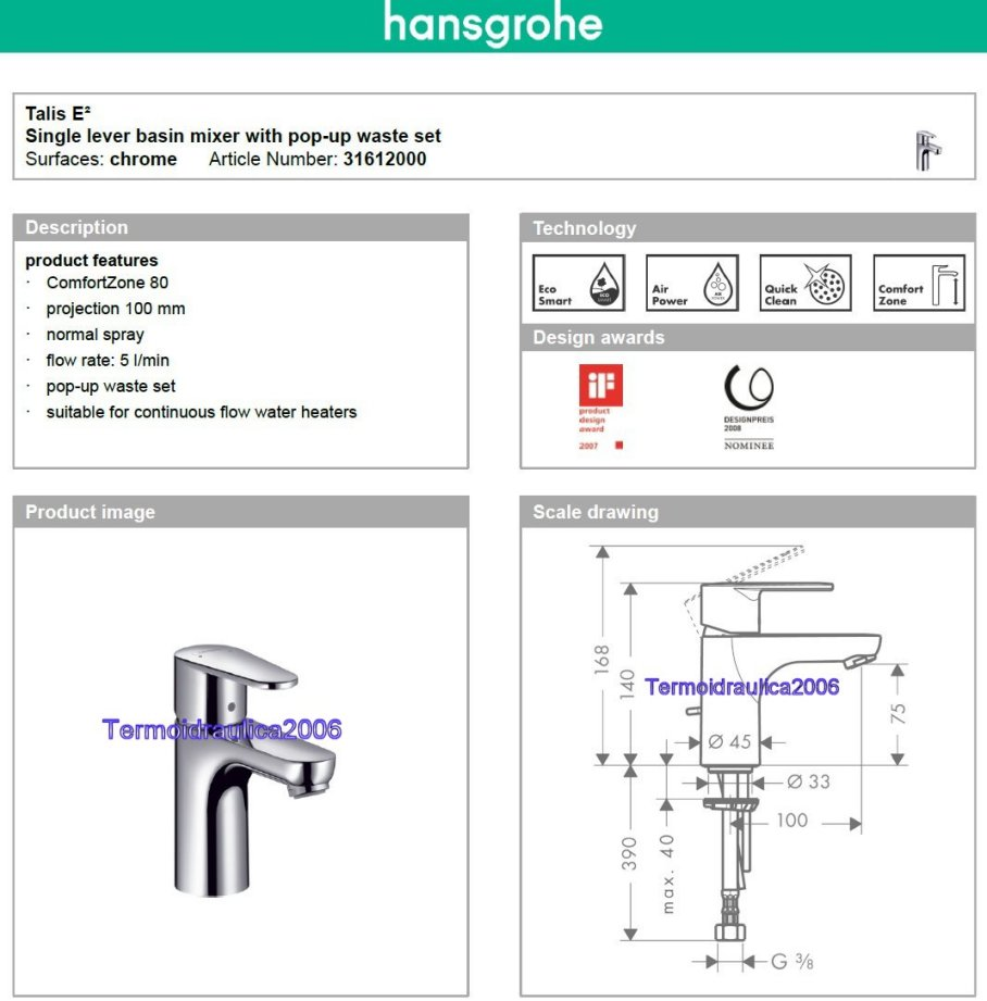 hansgrohe talis e2 31612000 basin mixer 80 projection 100 mm 5 l min chrome ebay. Black Bedroom Furniture Sets. Home Design Ideas