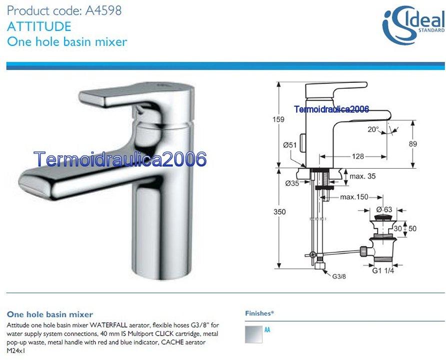 ideal standard attitude a4598aa washbasin mixer waterfall chrome ebay. Black Bedroom Furniture Sets. Home Design Ideas