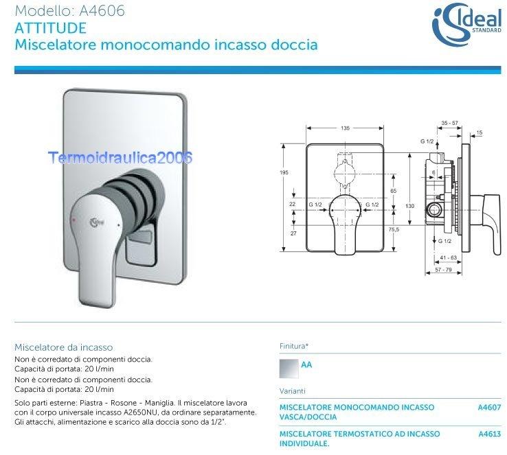 ideal standard attitude a4606aa nur sichtteile brausemischer einbau ebay. Black Bedroom Furniture Sets. Home Design Ideas