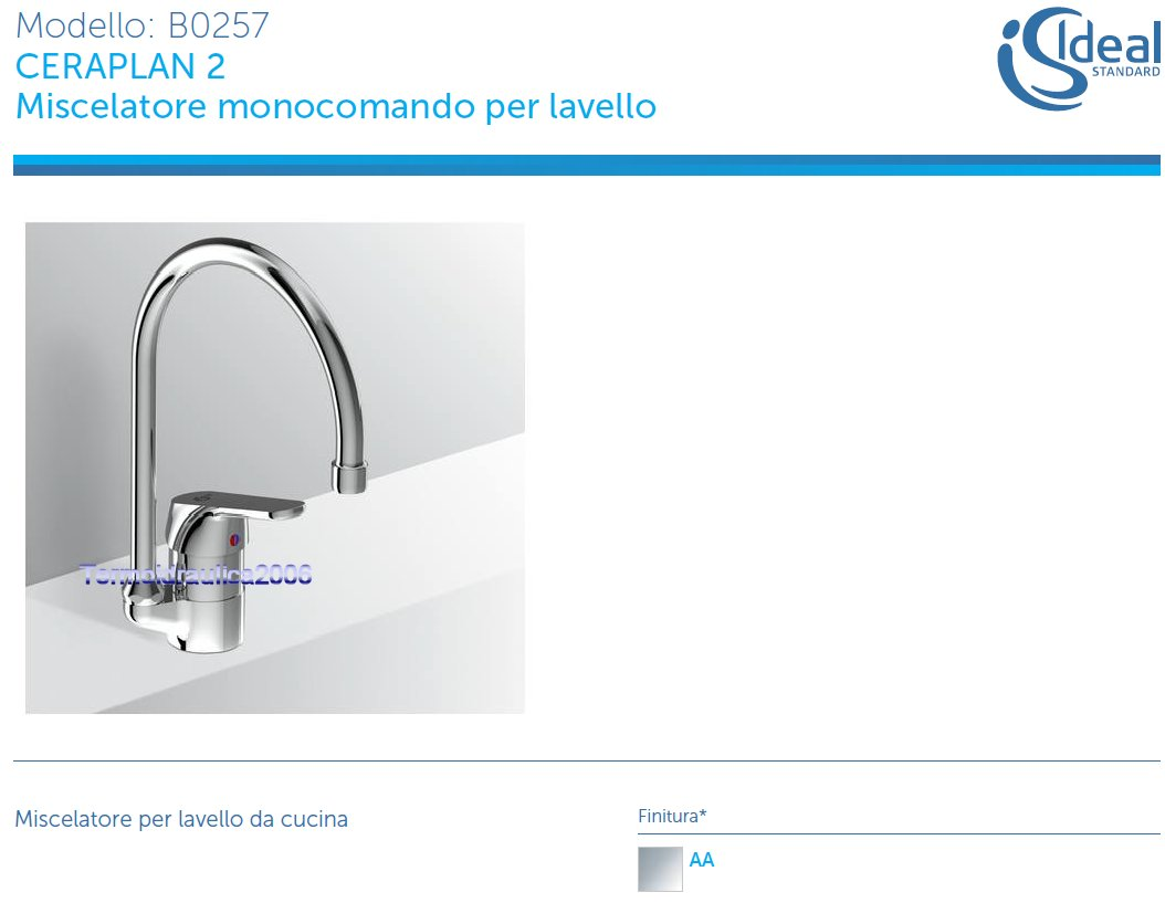 Ideal Standard Ceraplan 2 B0257aa Miscelatore Monocomando Lavello Cucina Cromo Ebay