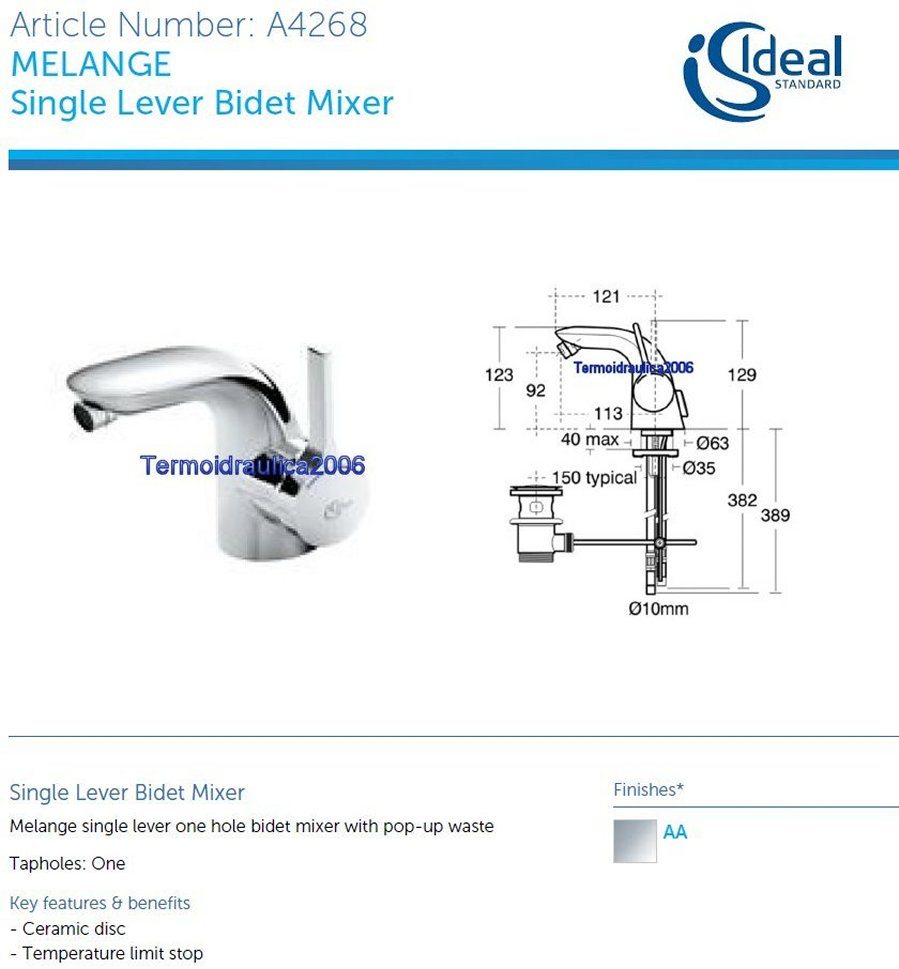ideal standard melange a4268aa bidet mixer flexible hoses. Black Bedroom Furniture Sets. Home Design Ideas