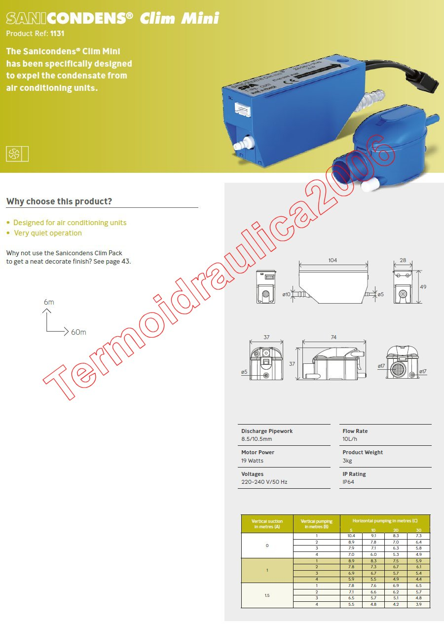 sanicondens clim mini internal condensate pump air conditioning unit. Black Bedroom Furniture Sets. Home Design Ideas