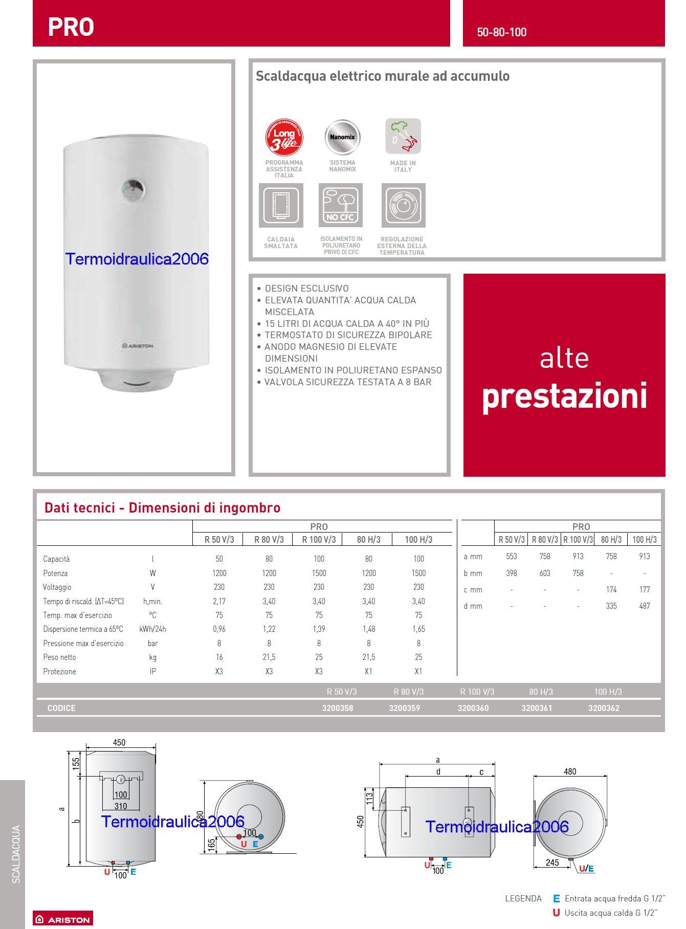 Ariston 3200361 pro r lt 80 h 3 scaldabagno elettrico orizzontale 30 for Scaldabagno elettrico ariston 50 litri prezzi