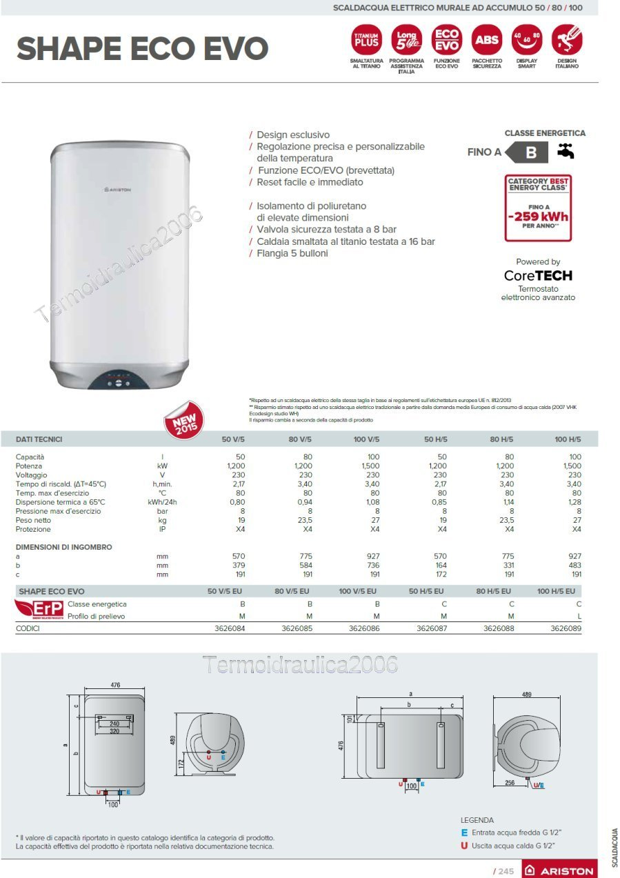 Electric Water Heaters Vertical 80 Liters Ariston Shape