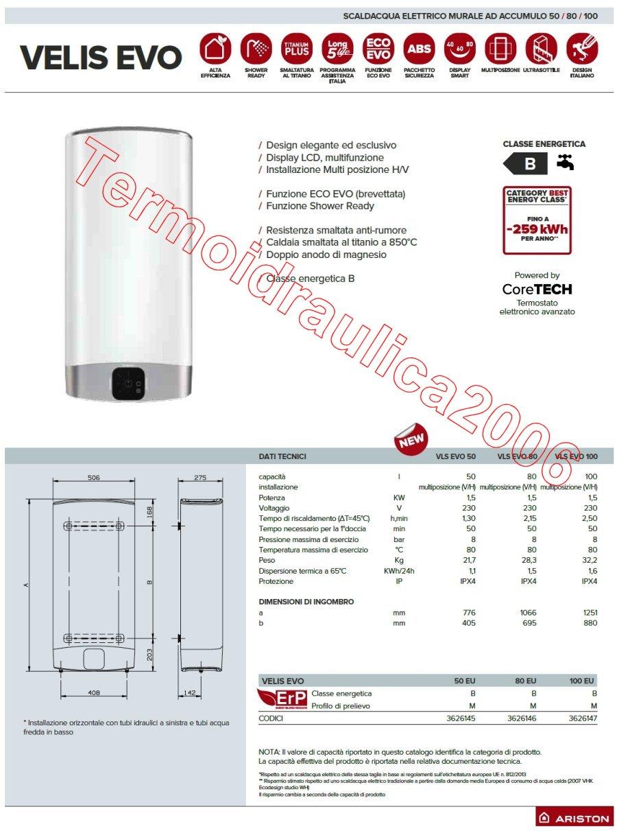 Multiposizione 80 litri ariston velis evo eu scaldabagno elettrico scaldacqua ebay - Scaldabagno ariston 30 litri prezzo ...