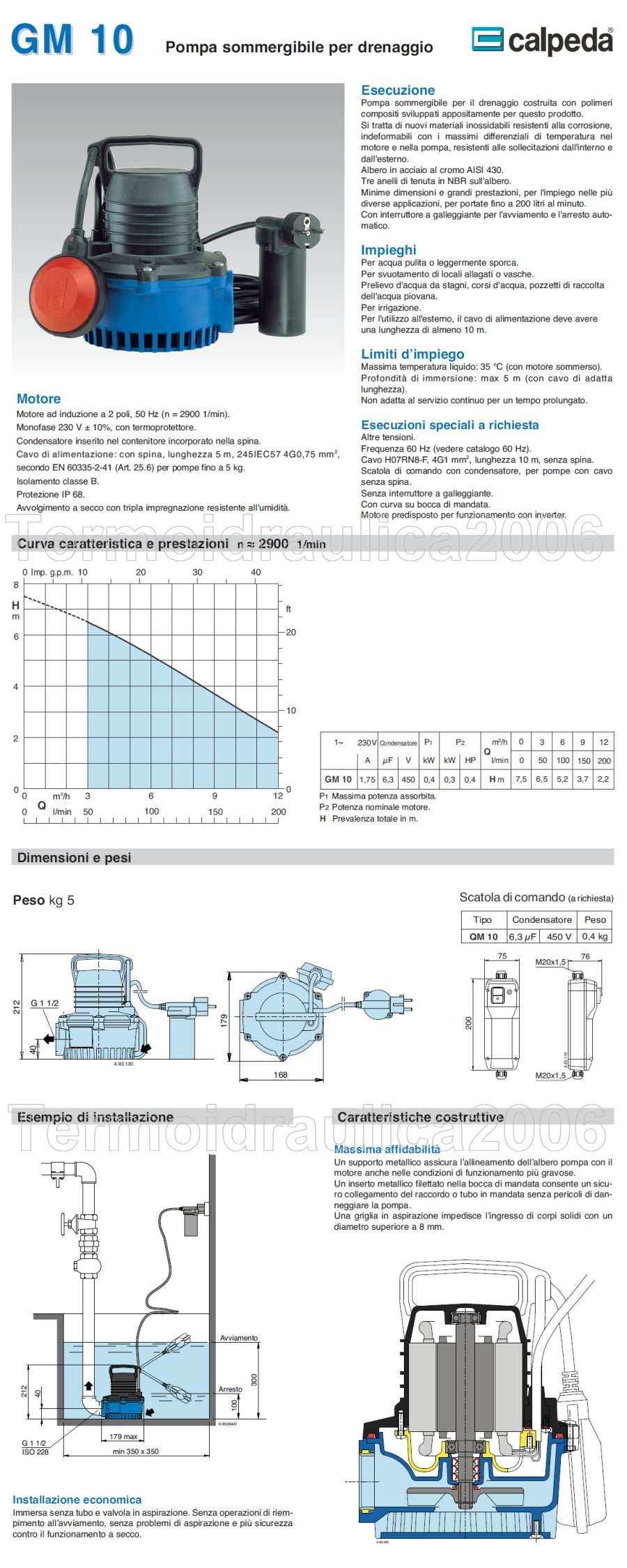Scheda tecnica Calpeda GM10