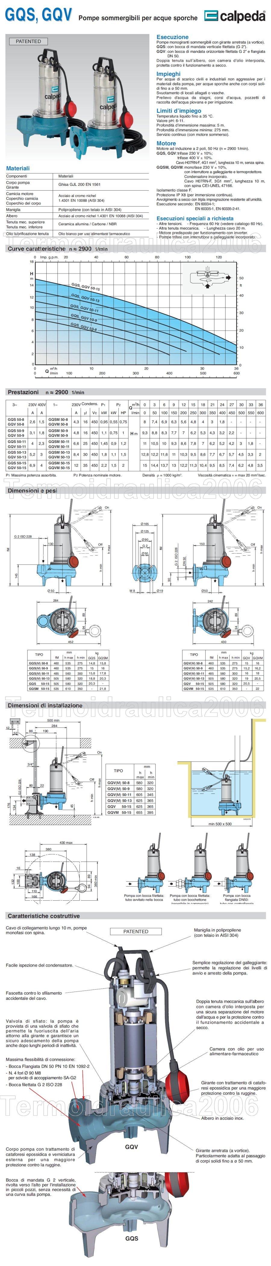 Scheda Tecnica Calpeda GQS 50-13