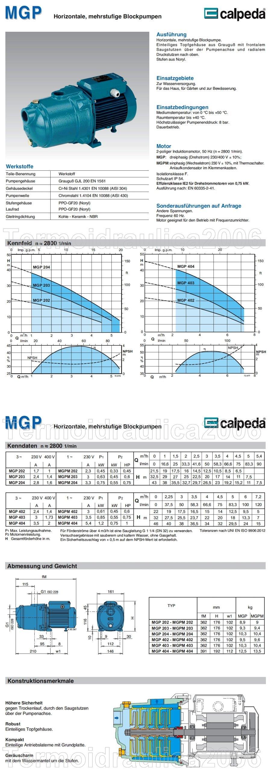 Mehrstufige Blockpumpe CALPEDA MGP405m 1,1kW 1,5Hp Einzelphase 230V 50Hz MGPM