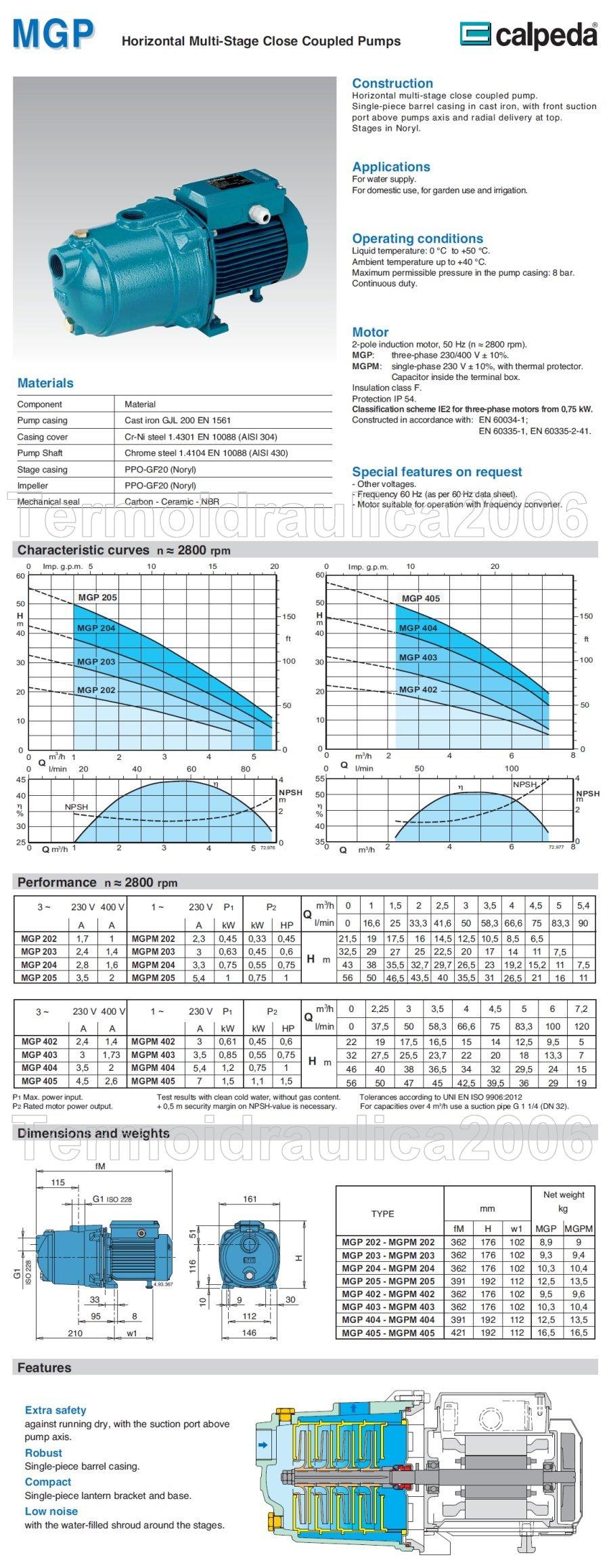 Data sheet Calpeda MGPM 405