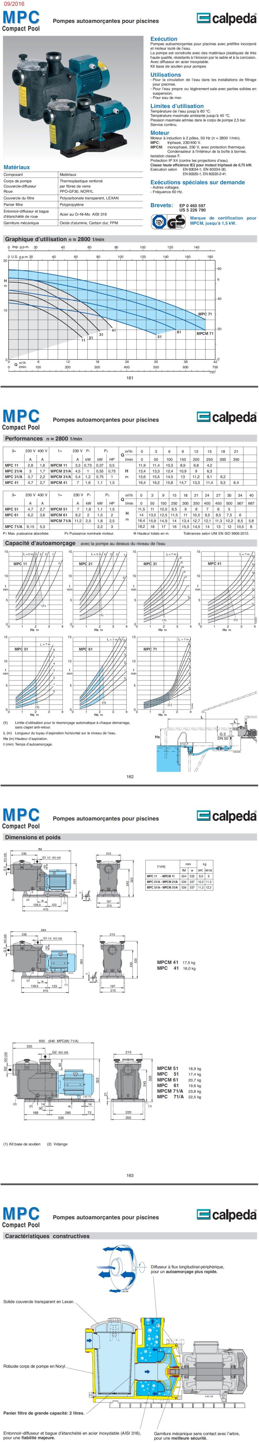 Fiche tecnique  Calpeda MPCM 31/A