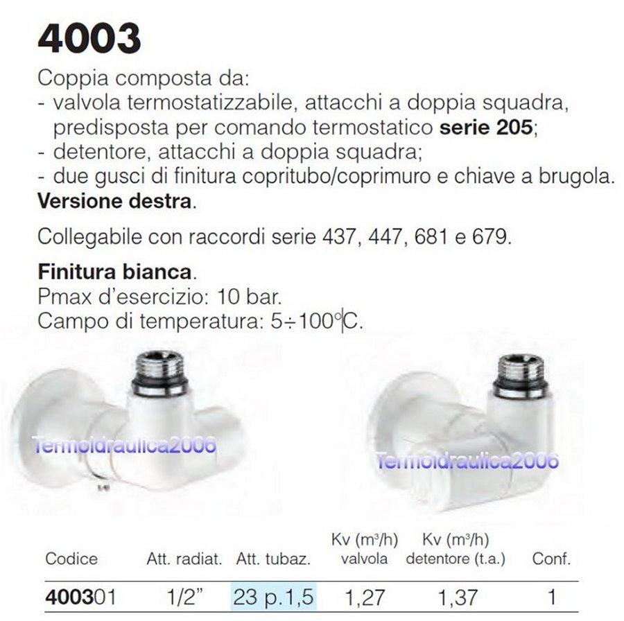 """Caleffi 400301 HighStyle Coppia di valvole doppia squadra 1//2/""""Bianco Destra"""