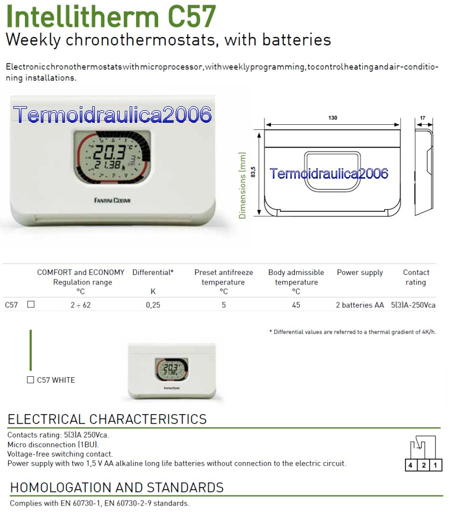 Fantini intellitherm c57 weekly programmable thermostat for Fantini cosmi c57 prezzo
