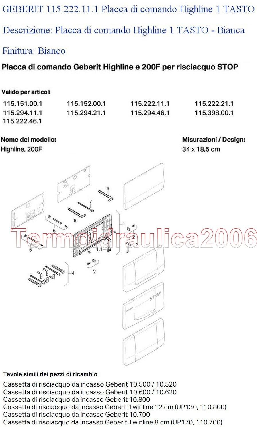 geberit highline placca di comando 1 tasto bianco ebay. Black Bedroom Furniture Sets. Home Design Ideas