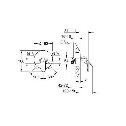 Grohe 32880000 Eurosmart Cosmopolitan Single Lever Shower Mixer 12