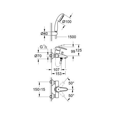 Grohe 33592001 Eurostyle Bath Tap Fitting