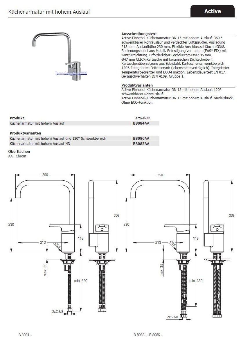 IDEAL STANDARD Active B8084AA Küchenarmatur mit hohem Auslauf | eBay