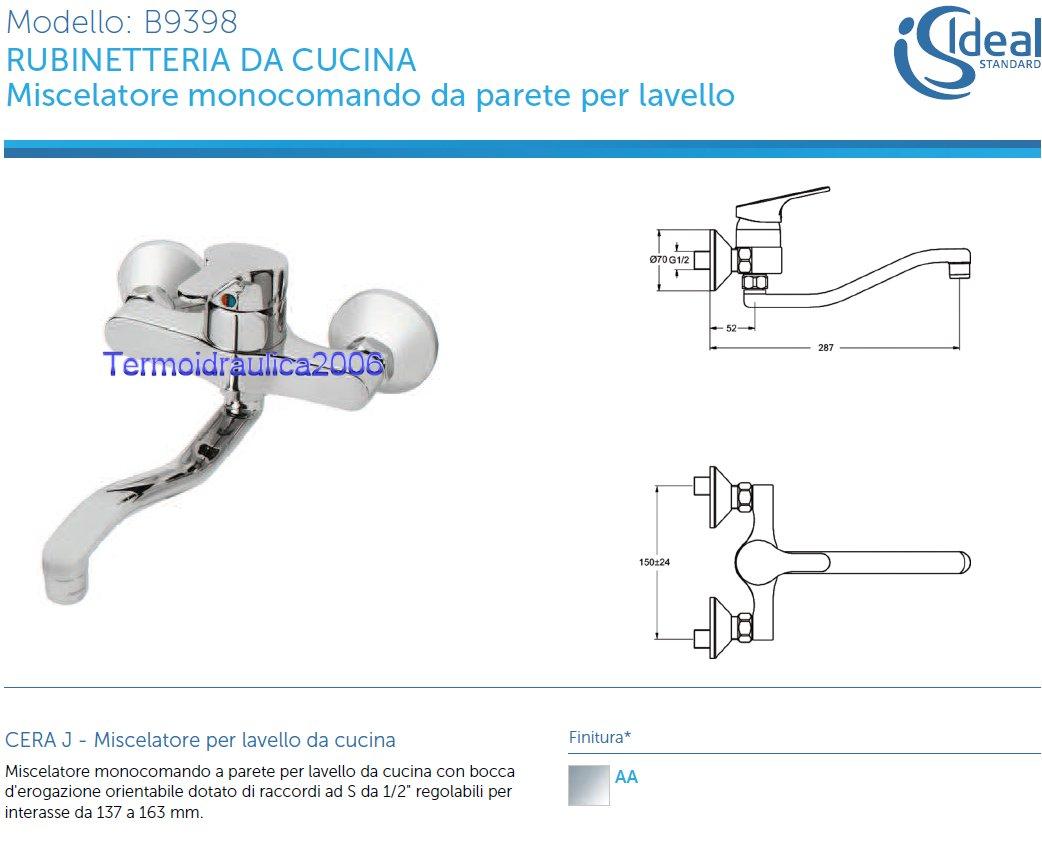 Ideal standard cera j b9398aa miscelatore lavello a parete raccordi ad s cromo ebay - Miscelatore cucina ideal standard ...