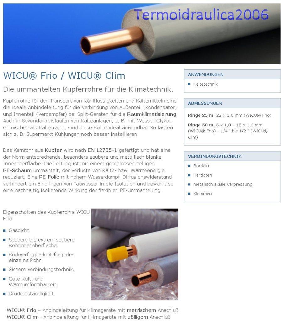 "KME 0084395 Ummantelten Kupferrohre Grau WICU CLIM 3//8/"" x 0,8mm Paket 50 Metern"