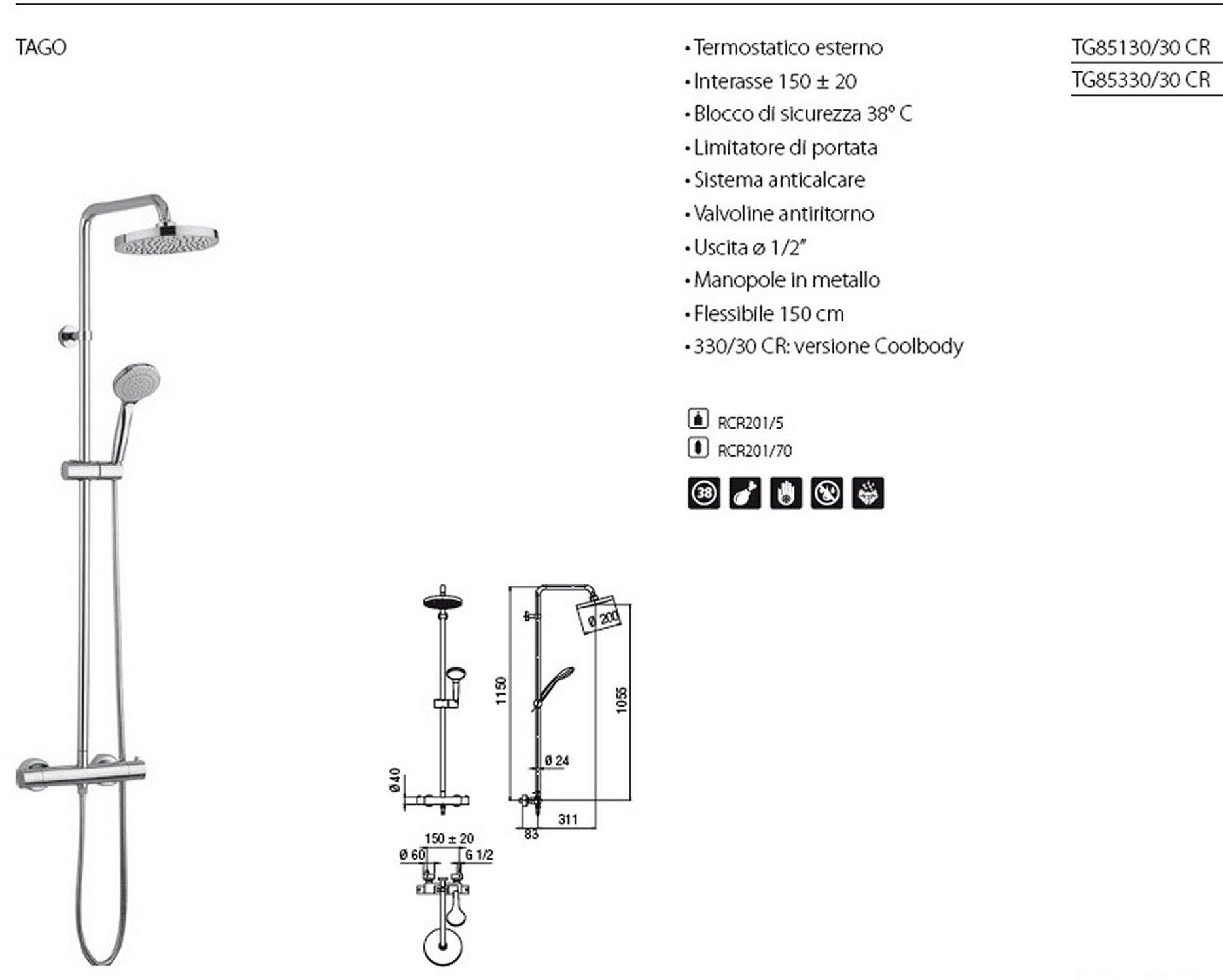 Colonna Doccia Nobili Tago.Dettagli Su Nobili Tago Tg85330 30 Colonna Doccia Con Miscelatore Termostatico E Soffione