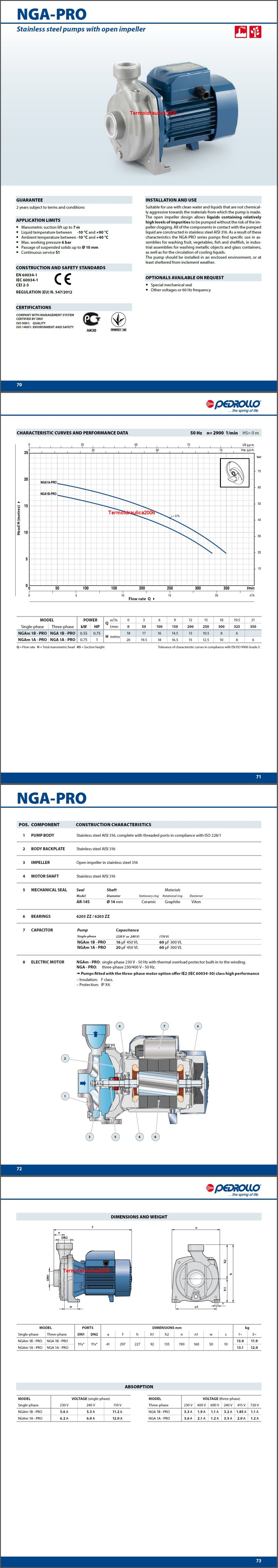 Data sheets Pedrollo NGA 1B-PRO