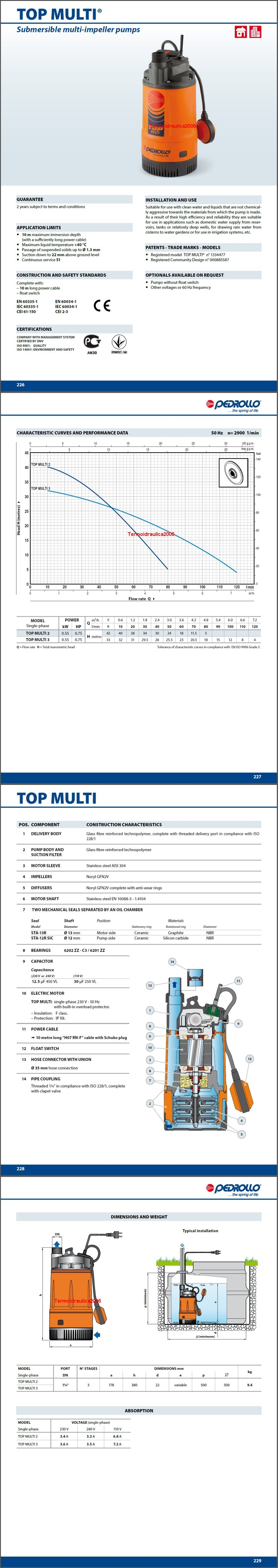 Data sheet Pedrollo TOP MULTI 2